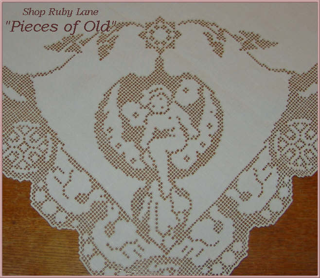 Victorian Linen Square Tablecloth Filet lace & Cutwork, Cherubs & Birds
