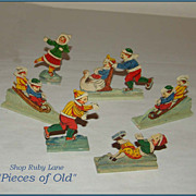 German Wooden Toys, Children Playing Winter Sports, Christmas Display