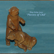 Pair of Carved Wood Bear Sculptures by Charles H. Rudy