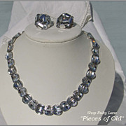 Vintage Vogue Sparking Silver Crystal Necklace & Earrings c.1960