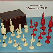 Antique Chess Pieces, Carved Ox Bone, Partial Set with Box c.1880