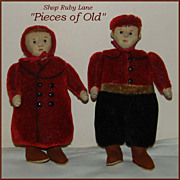 SALE PENDING Darling Pair of Steiff &quot;Teddy&quot; Dolls, felt faces with mohair bodies c.1