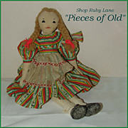 "16"" Cloth Doll in Original Outfit, Edith Flack Ackley Pattern"