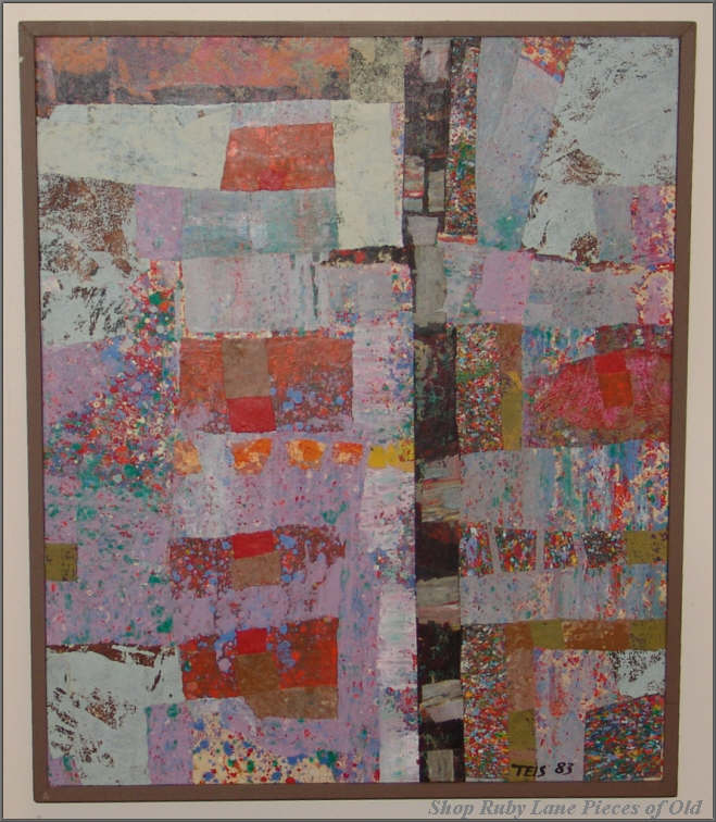 Original Abstract Collage Painting by Daniel Teis, 1983