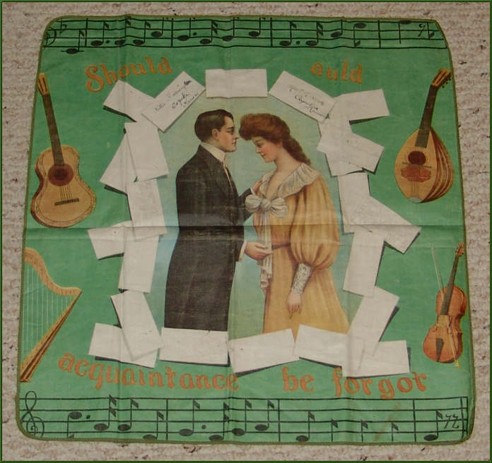 Victorian Lithograph on Linen, Musician's Autograph Pillowcase