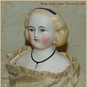 "Lovely 12"" Parian Lady Doll with wooden arms/legs"