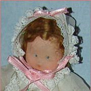 "Adorable Little 5"" Cloth Baby Doll with 15pc Wardrobe c.1950"