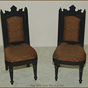 Pair of Victorian Doll Chairs with Original Silk Upholstery