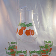 REDUCED 1950's Orange Juice Pitcher with Six (6) Glasses