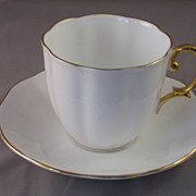 REDUCED Royal Albert White & Gold Scalloped Cups & Saucers - Set of 6