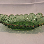 REDUCED EAPG  Emerald Pickle Boat, Pittsburgh Fan Pattern, ca. 1897