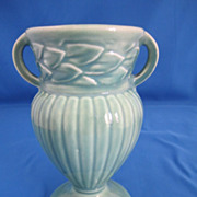 Red Wing #256 Green w/Leaf Pattern and Ribbed Body Vase, circa 1926-1929.
