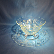 Coronet Pattern, Mayonnaise Bowl w/liner, Tiffin Glass,circa 1920's-1930's