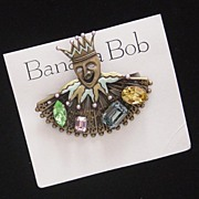 SALE MOC: Large BANANA BOB Court Jester Brooch: Big Glass Cabs. New/Old Stock