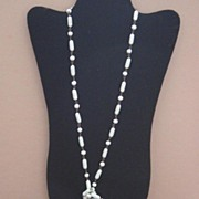 Looong Vintage Milk Glass Flapper-Length Necklace