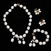 "SALE Vintage White Moonglow Full Parure:  ""Mad Men""-worthy!"