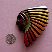 SALE Big, Superb Indian Chief Face Wooden Brooch: Circa 1920s