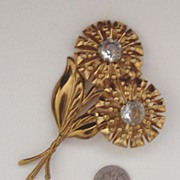 LARGE C. 1940s Flower Brooch