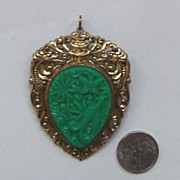 Vintage Faux Jade Pendant - Brooch: Asian Style Pagoda, Butterfly, Bird