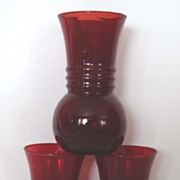 "Vintage Anchor Hocking Royal Ruby Glass Vase Trio: ""Harding"" Style Book Pieces"