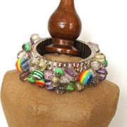 Colorful Vintage Glass-Beaded Expansion Bracelet: Cha Cha Bracelet Style