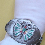 "Big Vintage ""Celebrity"" Pewter Butterfly Bracelet"