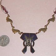 SALE Vintage PIDIDDLY LINKS Pharaoh Face Egyptian Revival Necklace
