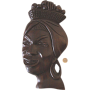 SALE Large Vintage Wooden African Lady Face Wall Hanging: Retro!