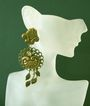 Huge, Ornate Burnished Goldtone Earrings: Shoulder Dusters