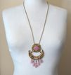 Gorgeous Pink Glass Double-Pendant Necklace: C. 1960s