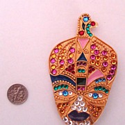 Book Piece: Big Vintage LOUIS FERAUD - Bijoux Brooch: Genie: Lady Face in Turban: New/Old Stoc