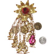 Huge Egyptian Revival Dangle Brooch: Pink Glass & Goldtone Metal