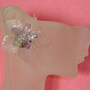 Flowery, Leafy Clear Lucite Aurora Borealis Earrings: NICE PRICE!