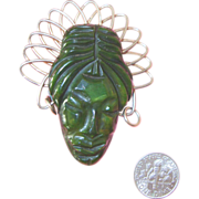 SALE Vintage Bakelite African Lady Face Brooch: Spinach Green: Deeply Carved