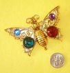 Big-Cabochon Butterfly Brooch