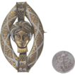 Impressive Damascene Asian Lady-Face Brooch or Pendant