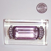 "SALE Large Clear Lucite & Glass ""Amethyst"" Brooch: Art Deco Style: Rose de France Co"