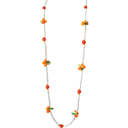 """Milk Glass"" Flapper-Length Necklace: Fruit Salad Style: Hong Kong"