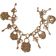 SALE Charming Goldtone Lock & Key Charm Bracelet