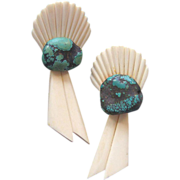 SALE Vintage WENDY GELL Faux-Ivory  & Faux-Turquoise Earrings: Shoulder-Dusters