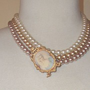 "LUMINESS 3-Strand Faux-Pearl Necklace + Cameo Brooch: ""Mad Men""-Worthy!"