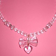 Vintage Crystal Necklace w/Clear Lucite Heart-&-Bow Pendant: My Funny Valentine