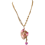 Large Lady Face Pendant Necklace: Floral Headdress: New & Vintage Components
