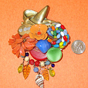 LARGE Mexican-Motif Collage Brooch: OOAK: Vintage & New Components