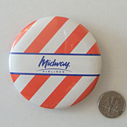 Big MIDWAY AIRLINES Promotional Button: New/Old Stock