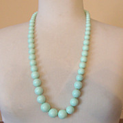 SALE Glass-Like, Cool Pale-Green Vintage Beaded Necklace: Long!