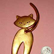 SALE HUGE Articulated Cat Brooch