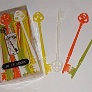 MIB: 36 Key-Shaped 1968 Stir Stix: White, Orange, Yellow, & Avocado Green:  &quot;Mad Men&quot;