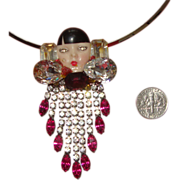 Sublime Unsigned WENDY GELL Lady-Face Pendant Necklace