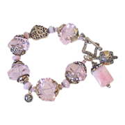 "Pink Peruvian Opal & Mega Nugget Charm Bracelet by Pilula Jula ""Keeps Getting Better"""